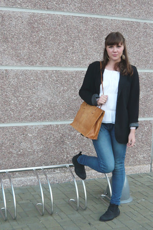 black Primark shoes - blue Primark jeans - black New Yorker blazer - camel vinta